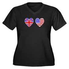 USA UK Hearts on White Women's Plus Size V-Neck Da