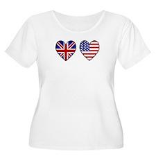 USA UK Hearts on White T-Shirt