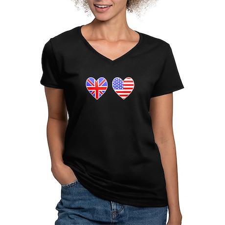 USA UK Hearts on White Women's V-Neck Dark T-Shirt