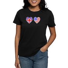 USA UK Hearts on White Tee