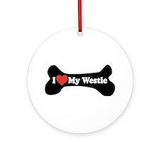 I Love My Westie - Dog Bone Ornament (Round)