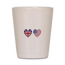 USA Union Jack Hearts on White Shot Glass