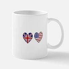 USA Union Jack Hearts on White Mug