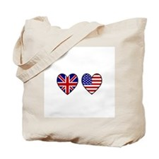 USA Union Jack Hearts on White Tote Bag