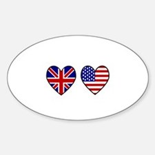 USA Union Jack Hearts on White Decal