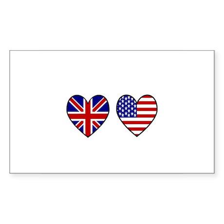 USA Union Jack Hearts on White Sticker (Rectangle)