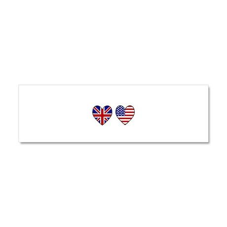 USA Union Jack Hearts on White Car Magnet 10 x 3
