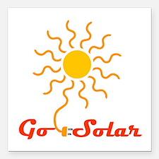 "Go Solar Square Car Magnet 3"" x 3"""