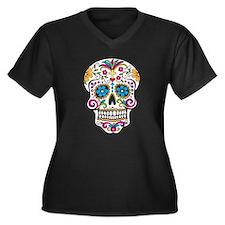 Sugar Skull Women's Plus Size V-Neck Dark T-Shirt