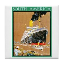 South America Travel Poster 1 Tile Coaster
