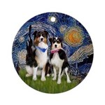Starry Night-Two Aussie Shepherds Ornament (Round)
