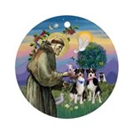 St Francis-Two Aussie Shepherds Ornament (Round)