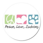 Peace, Love, Zuchons Round Car Magnet
