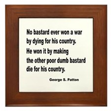 Patton on Winning a War Framed Tile