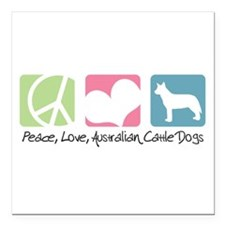 """peacedogs.png Square Car Magnet 3"""" x 3"""""""