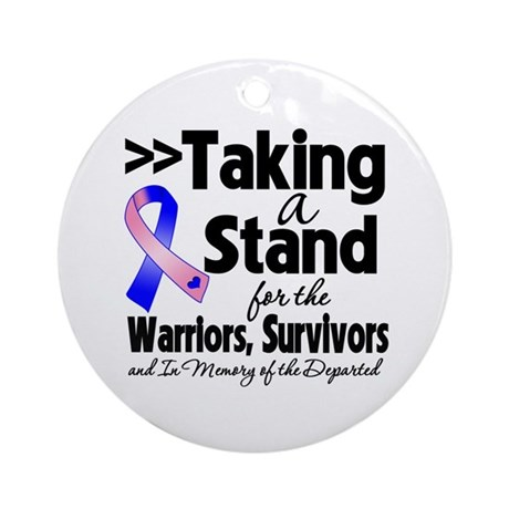 Stand Male Breast Cancer Ornament (Round)