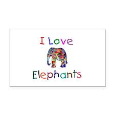 I Love Elephants Rectangle Car Magnet