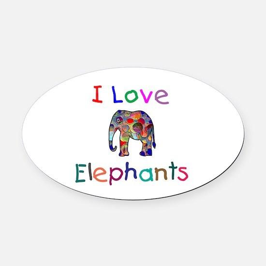 I Love Elephants Oval Car Magnet