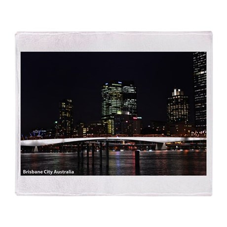 Brisbane City Night Throw Blanket