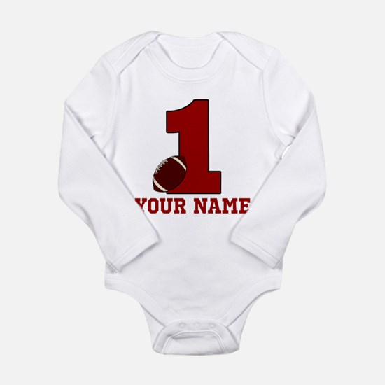1st Birthday Football Long Sleeve Infant Bodysuit