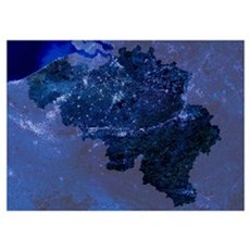 Belgium by night, satellite image Poster