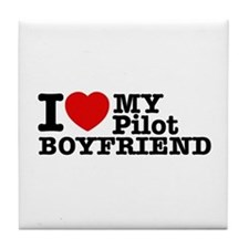 I Love My Pilot Boyfriend Tile Coaster