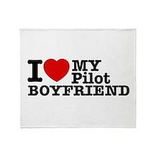 I Love My Pilot Boyfriend Throw Blanket