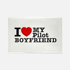 I Love My Pilot Boyfriend Rectangle Magnet