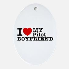 I Love My Pilot Boyfriend Ornament (Oval)