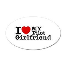 I Love My Pilot Girlfriend 20x12 Oval Wall Decal