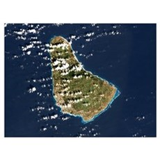 Barbados, satellite image Poster