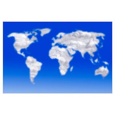 Cloud world map, artwork Poster