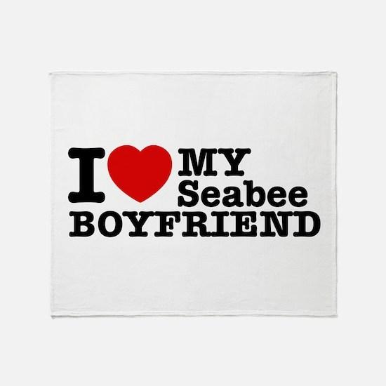 I Love My Seabee Boyfriend Throw Blanket