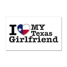 I Love My Texas Girlfriend Car Magnet 20 x 12