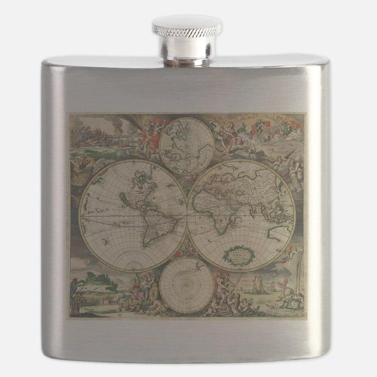Vintage Map Flask