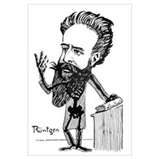 Caricature of Roentgen and X-rays Framed Print