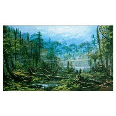 Artist's impression of a Carboniferous forest Poster