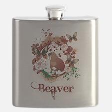 Butterfly Beaver Flask