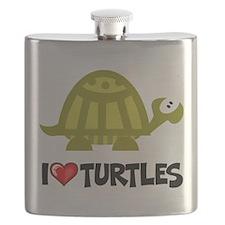 I Love Turtles Flask