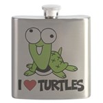 I Love Turtles Flask