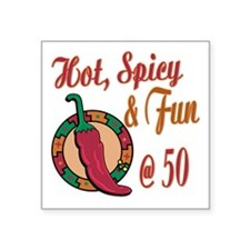"HotSpicy50.png Square Sticker 3"" x 3"""