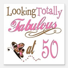 "FabPinkBrown50.png Square Car Magnet 3"" x 3"""