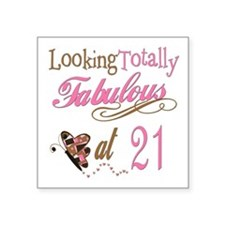 """FabPinkBrown21.png Square Sticker 3"""" x 3"""""""