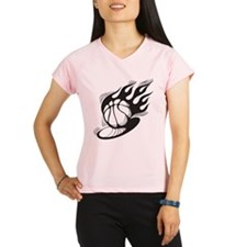 Flaming Basketball Performance Dry T-Shirt