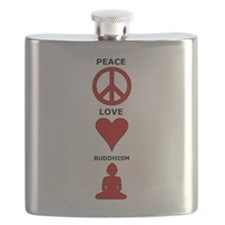 Peace Love Buddhism Flask