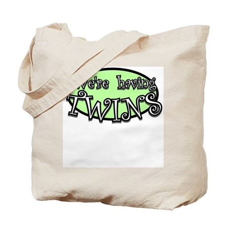 We're haing TWINS_green Tote Bag