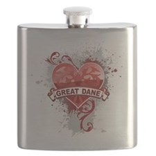 Heart Great Dane Flask