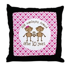 10th Anniversary Love Monkeys Throw Pillow