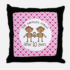 10th Anniversary Love Monkeys Throw Pillow
