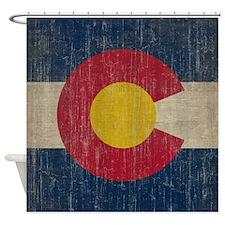 Vintage Colorado Flag Shower Curtain